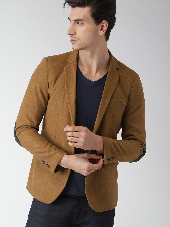 8efd42453818 Buy INVICTUS Men Brown Slim Fit Single Breasted Casual Blazer ...