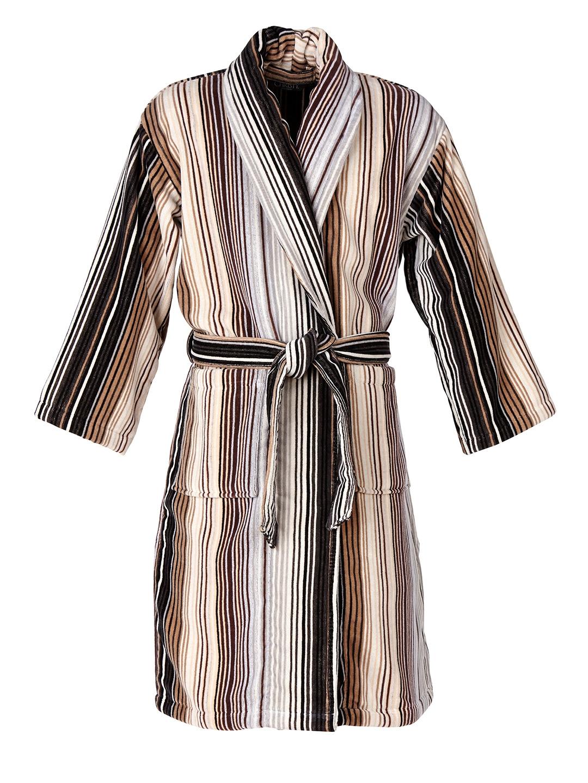 60f1b83ff3 Buy CHRISTY Unisex Brown Striped Bathrobe - Bath Robe for Unisex ...