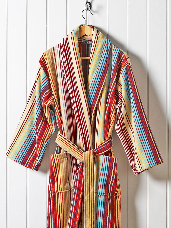 19c0f01260 Buy CHRISTY Unisex Multicoloured Striped Bathrobe - Bath Robe for Unisex  1827061