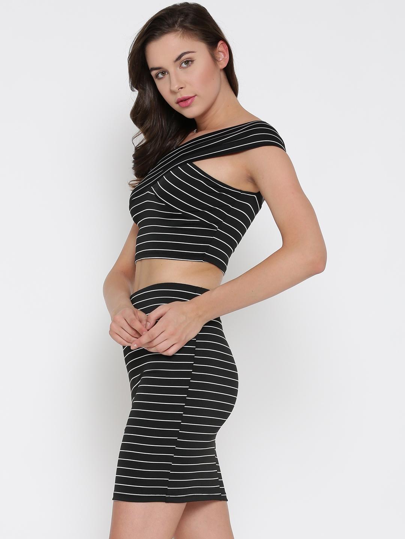 69ca3ed2c96f Buy Veni Vidi Vici Women Black & White Striped Co Ords Dress ...