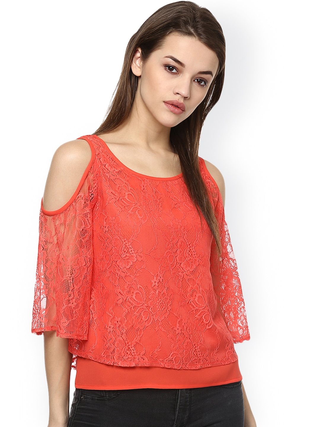 c67d533d52f61e Buy STREET 9 Coral Orange Cold Shoulder Layered Top - Tops for Women ...