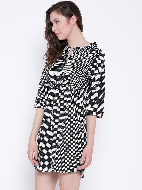e7d3222360c Buy Sera Women Black Checked Fit   Flare Dress - Dresses for Women ...