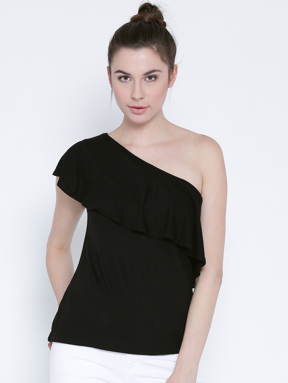 934758a92a20 Buy Sera Women Black One Shoulder Top - Tops for Women 1829193