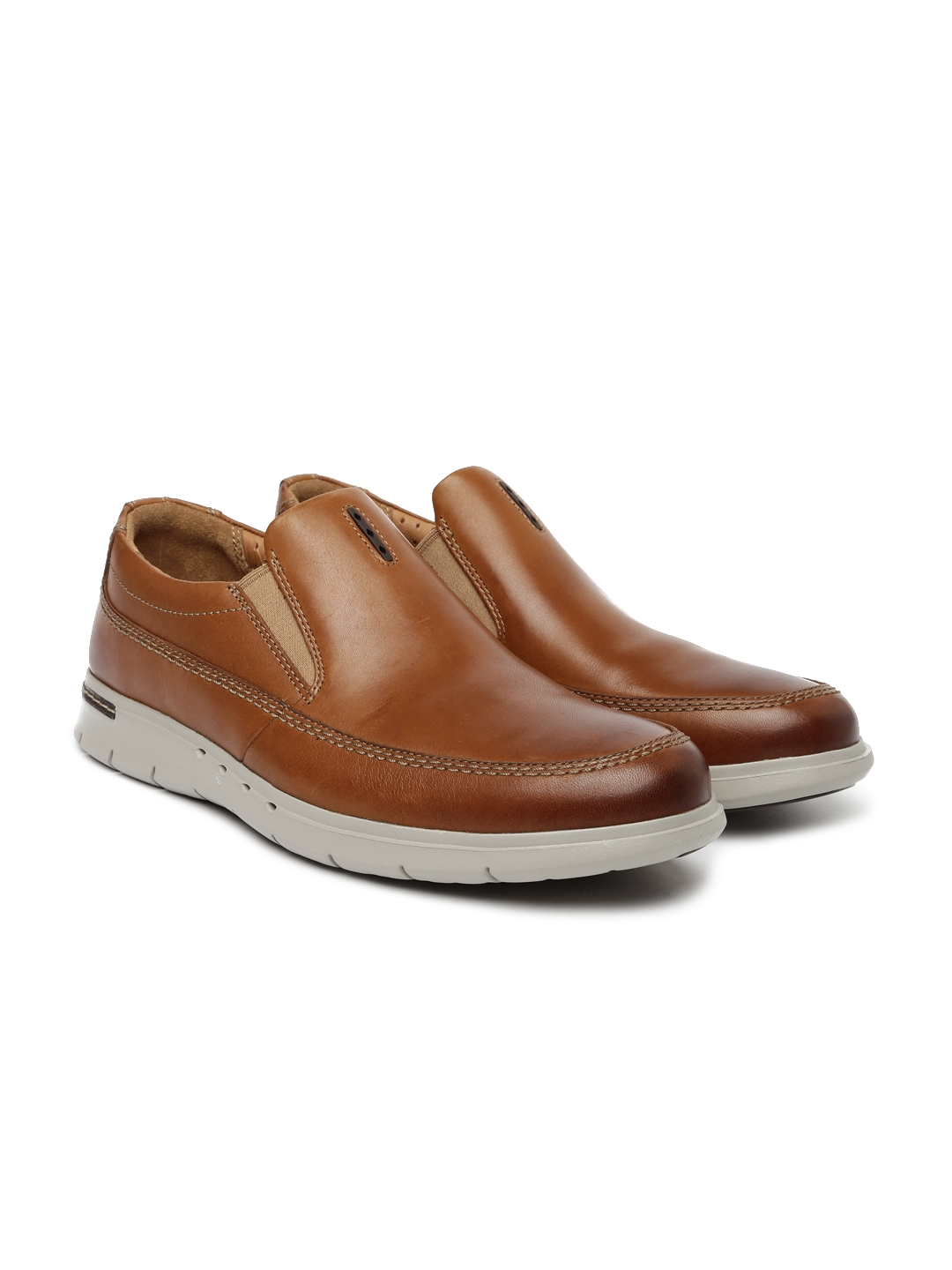c8a174a45c48 Clarks Unstructured Men Tan Brown Easy Leather Unbyner Slip-On Sneakers