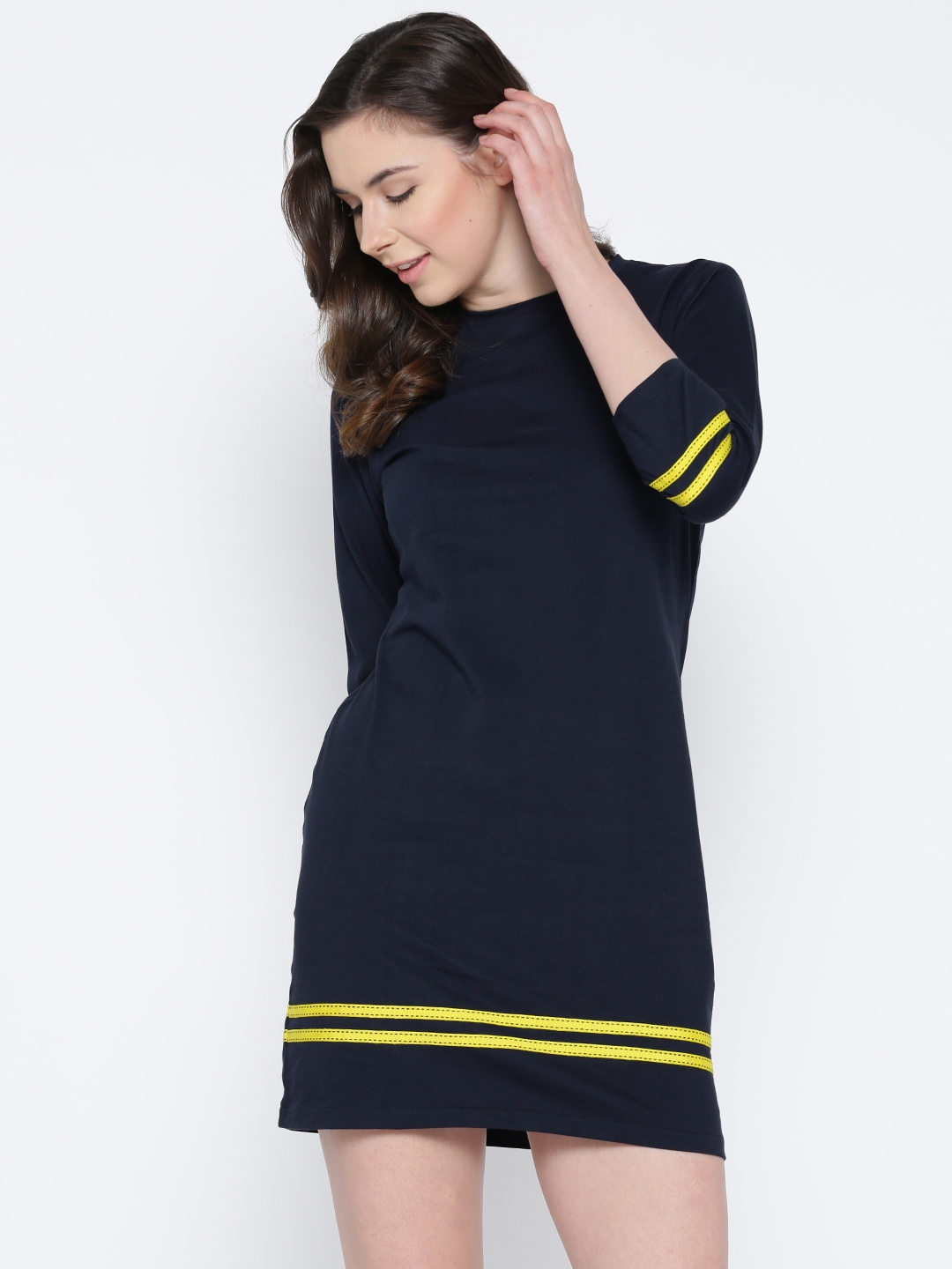 Buy Miss Chase Women Navy Blue Striped Detail T Shirt Dress