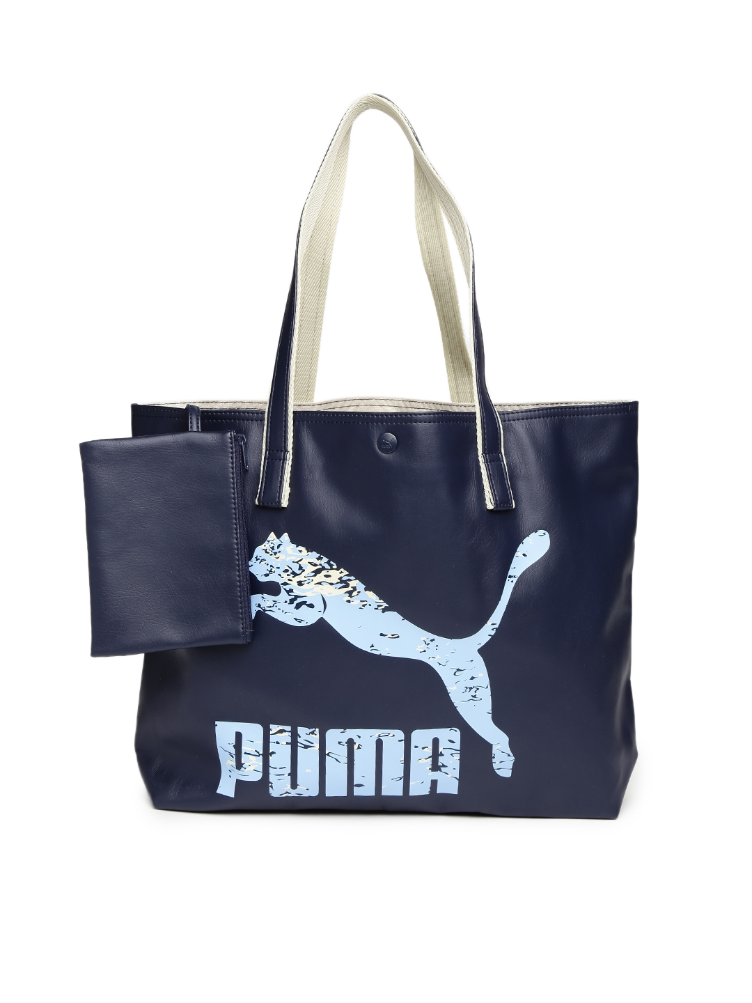 05bd10a1e746 Buy Puma Navy   Beige Archive Large Shopper F Printed Tote Bag - Handbags  for Women 1831701