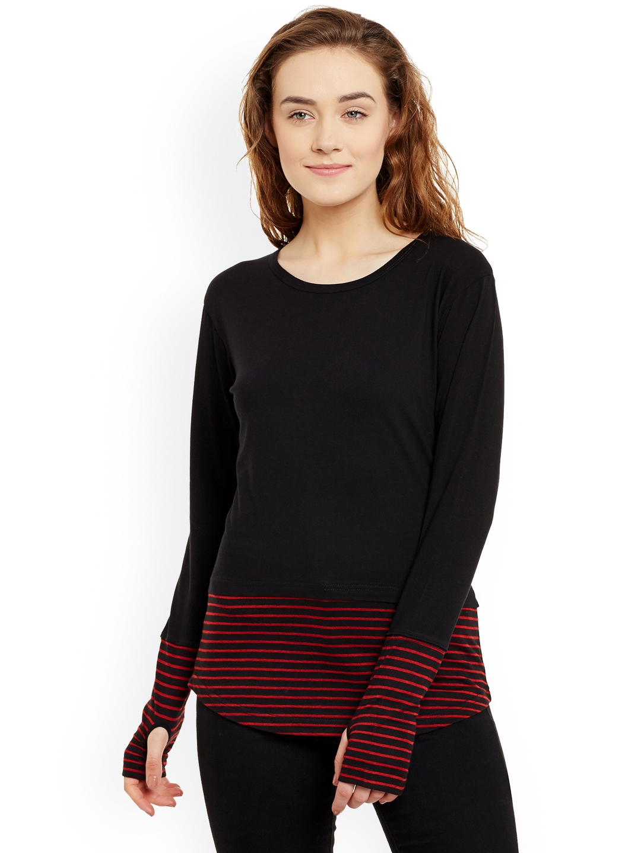 Hypernation Women Black   Red Striped Round Neck T shirt