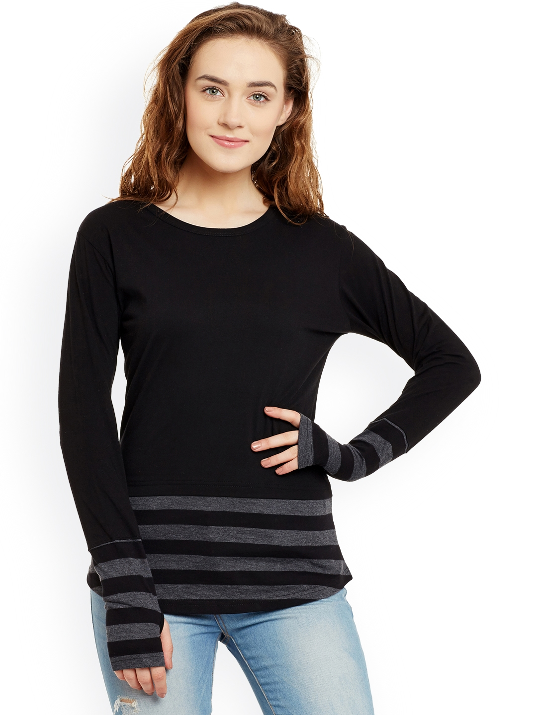 Hypernation Women Black   Grey Striped Round Neck T shirt