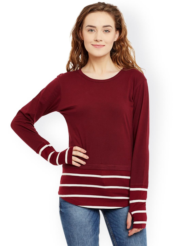 Hypernation Women Maroon Solid Slim Fit Round Neck T shirt