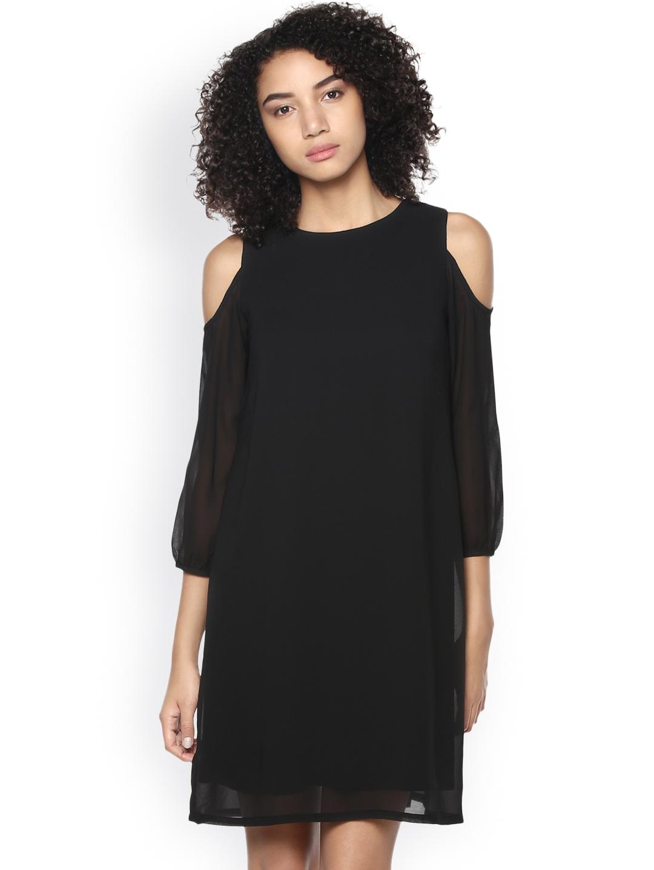 Harpa Women Black Solid A Line Dress