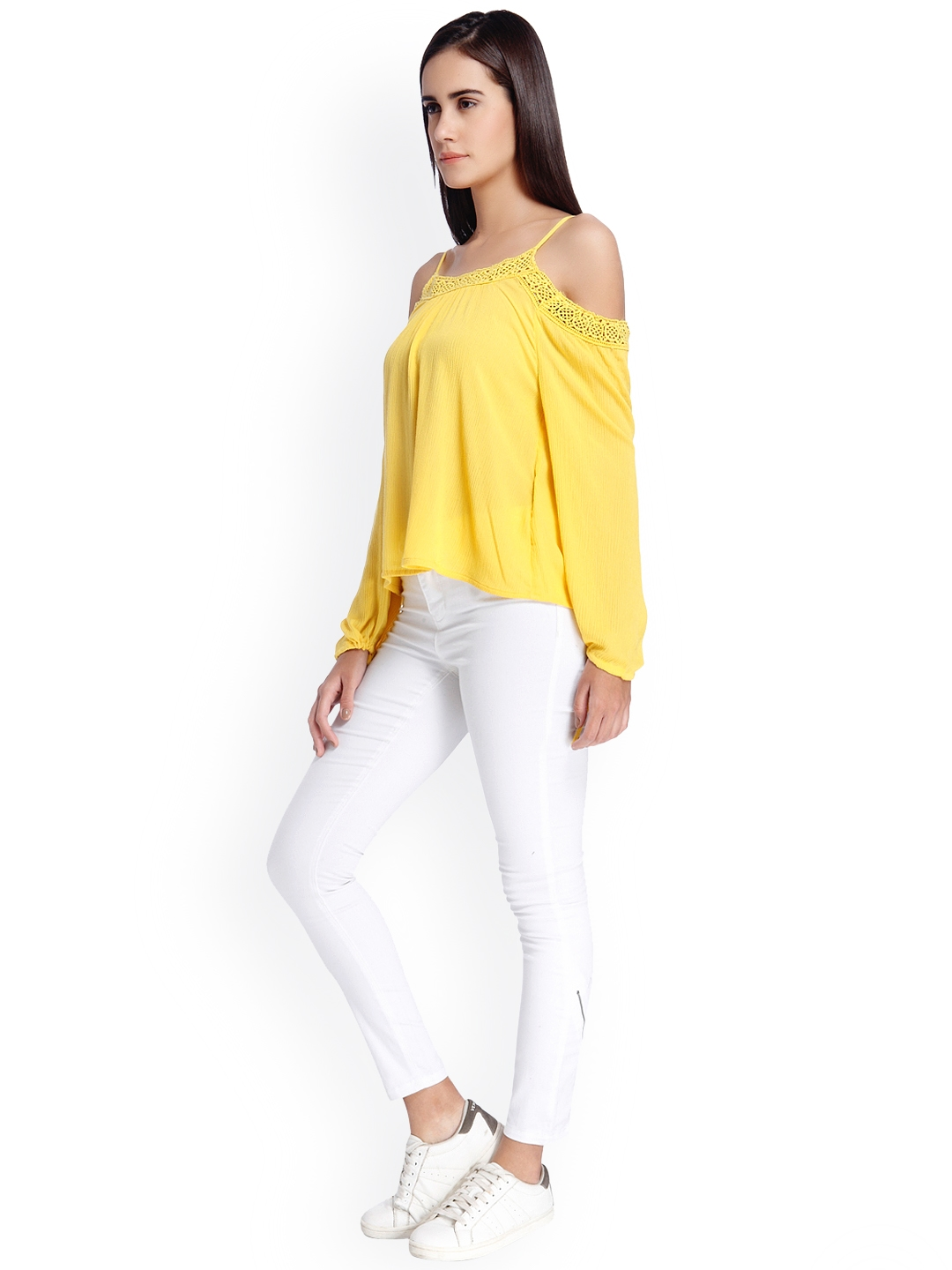 ed76b4fbdfc Buy Vero Moda Women Yellow Solid Cold Shoulder Top - Tops for Women ...