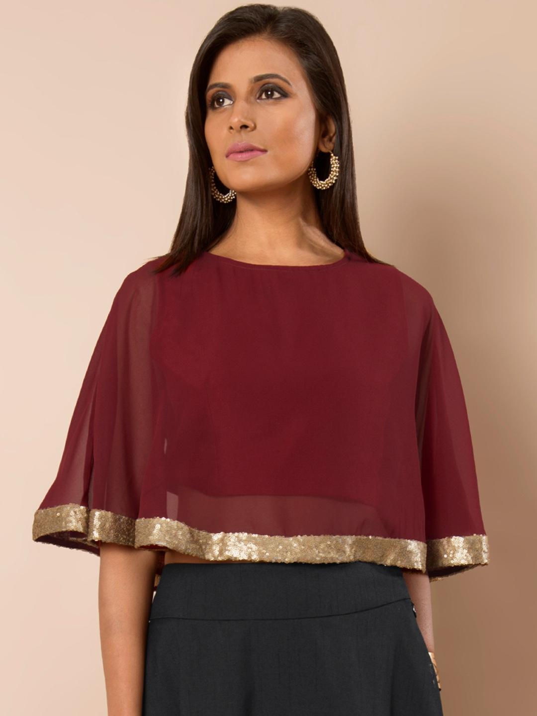 8ea1c4e38199c4 Buy INDYA Maroon Cape Crop Top With Sequinned Detail - Tops for ...