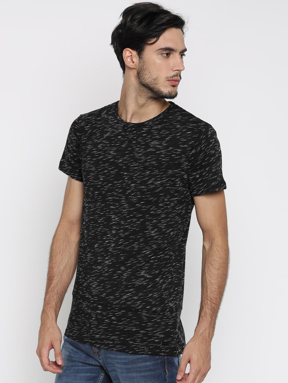 Buy Alcott Men Black Self Design T Shirt Tshirts For Men Myntra
