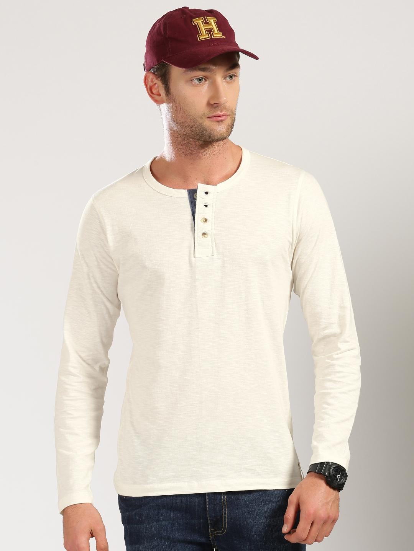 a6c2df71 Buy Harvard Cream Coloured Henley T Shirt - Tshirts for Men 1843454 ...