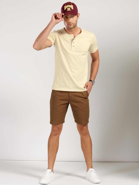 84ffb61f Buy Harvard Cream Coloured Henley T Shirt - Tshirts for Men 1843458 ...
