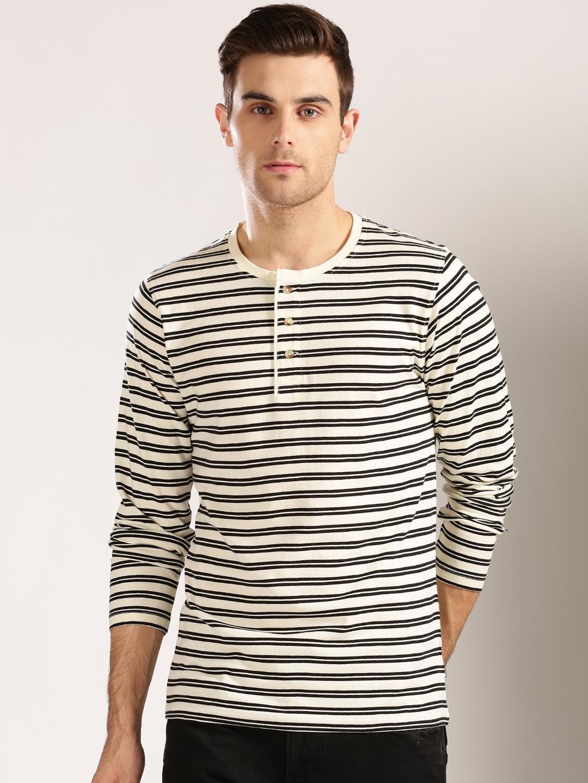 fc611c12 Buy Harvard Men Cream Coloured & Black Striped Henley T Shirt ...