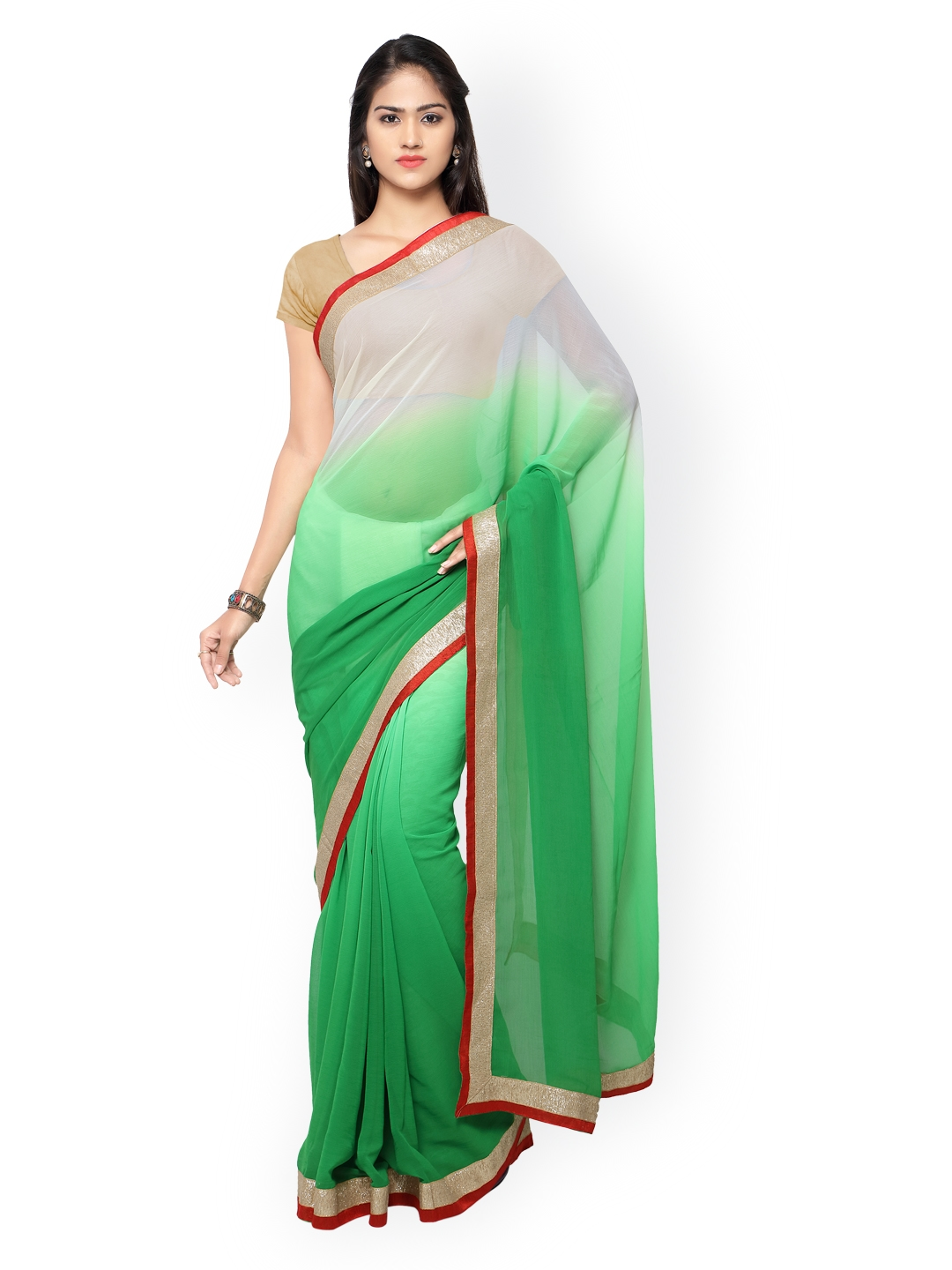 131de318099324 Buy Florence Green & White Ombre Dyed Chiffon Saree - Sarees for ...