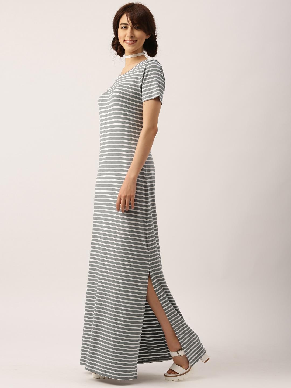 79256ef65e Buy DressBerry Women Grey & White Striped Maxi Dress - Dresses for ...