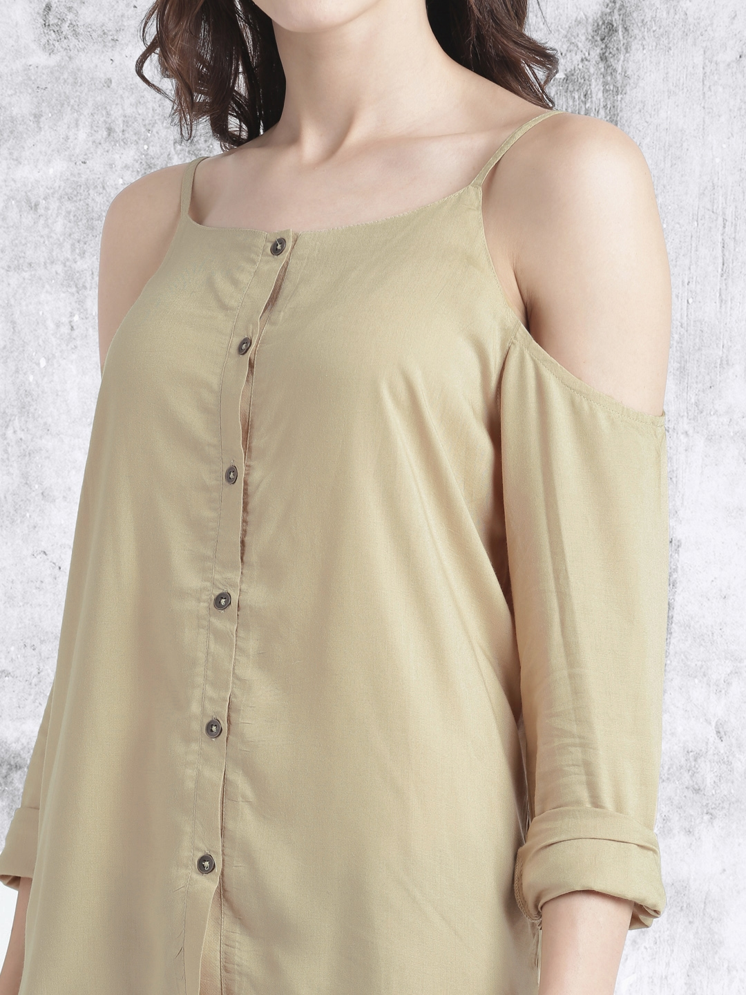 6eb3715533013e Buy Roadster Women Beige Cold Shoulder Top - Tops for Women 1848668 ...