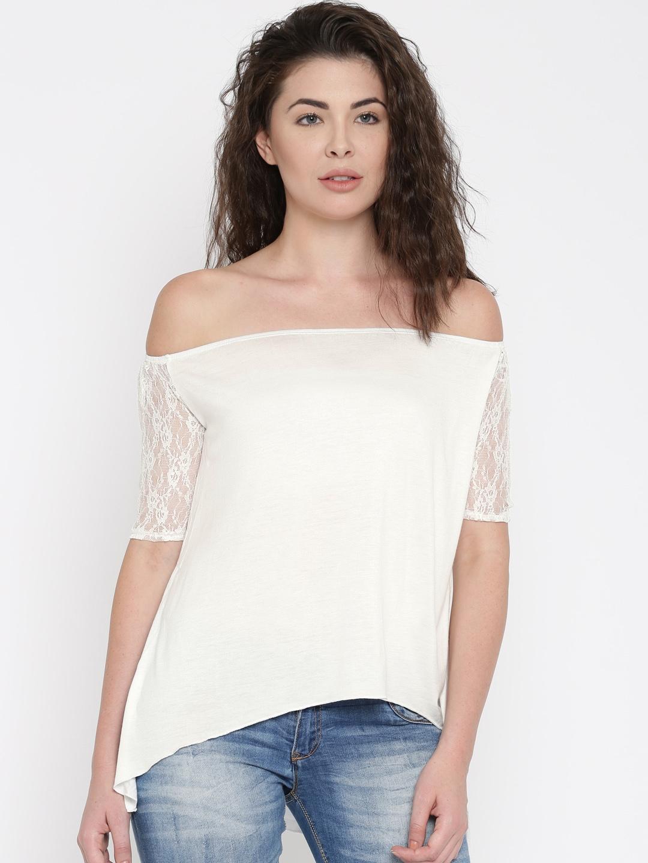 d9a78cda5ba8b Buy ALCOTT Women White Lace Bardot Top - Tops for Women 1848870