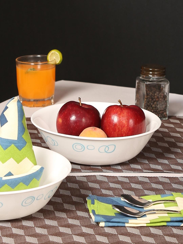Corelle Livingware Circle White Set of 3 Vitrelle Glass Printed Serving Bowls