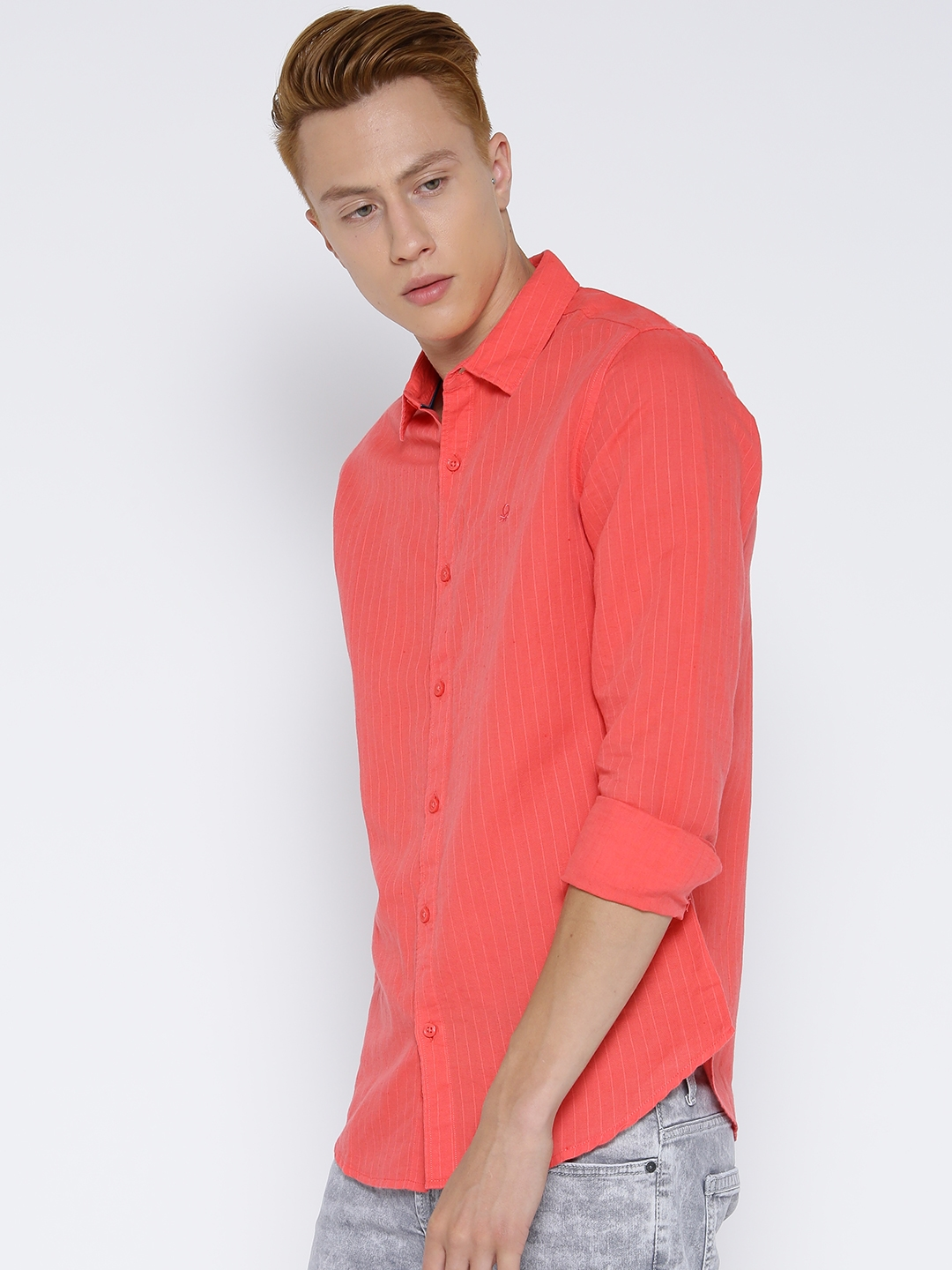 Buy United Colors Of Benetton Men Coral Orange Striped Casual Shirt