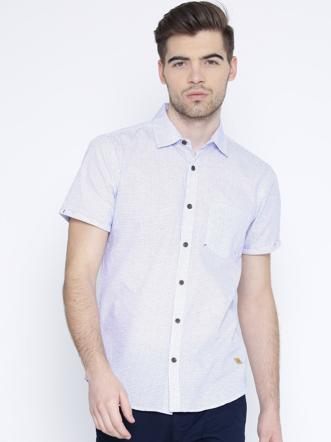 United Colors of Benetton Men White   Blue Printed Casual Shirt