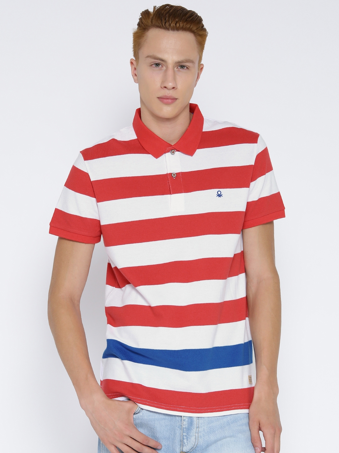 2c46382e9ef Buy United Colors Of Benetton Men White   Red Striped Polo T Shirt ...
