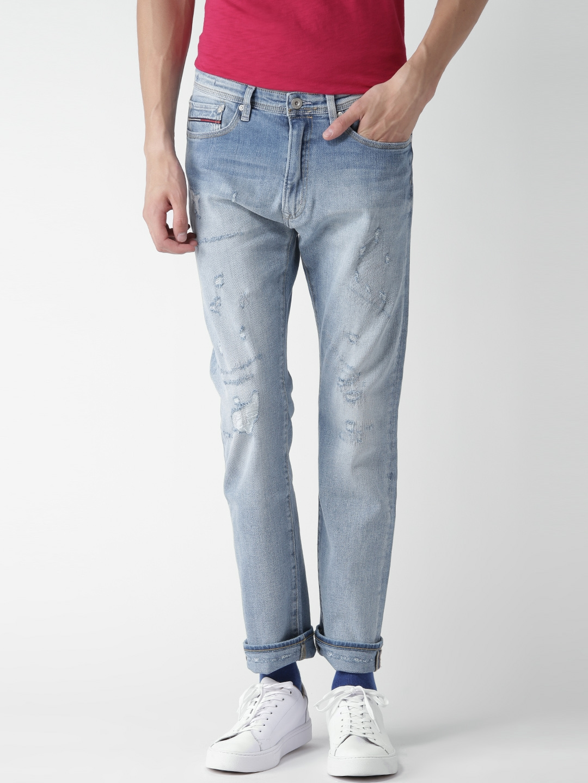 17909d1b473d Tommy Hilfiger Men Blue Slater Straight Slim Fit Mildly Distressed  Stretchable Jeans
