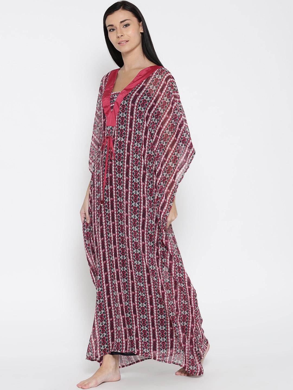 b05f9231e5 Buy The Kaftan Company Red Printed Kaftan Maxi Semi Sheer Nightdress ...