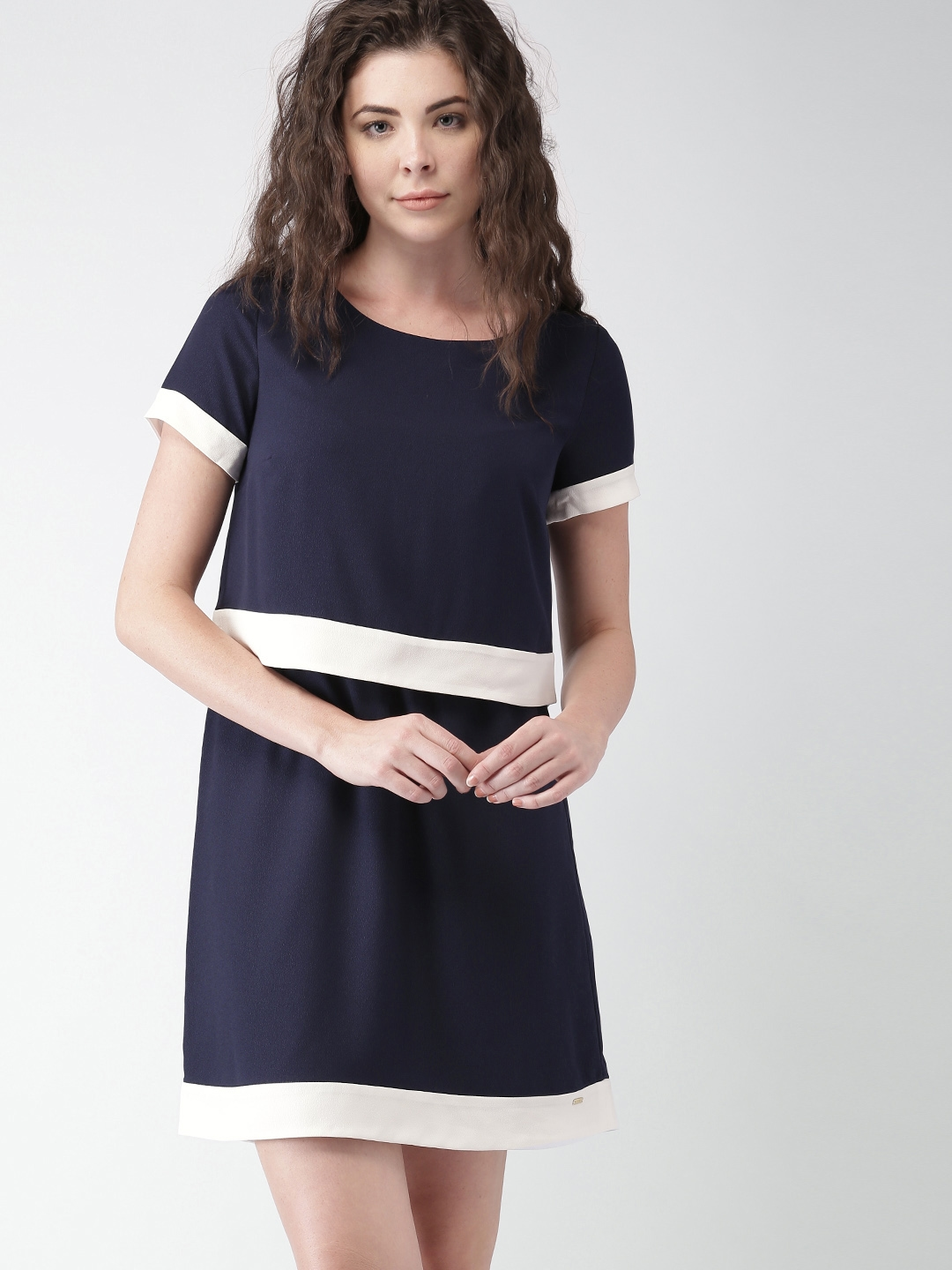 8560787a Buy Tommy Hilfiger Women Navy Solid A Line Dress - Dresses for Women ...