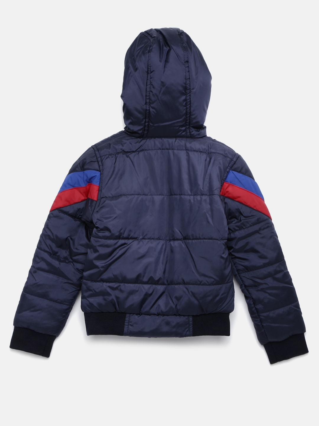 20e6e65d5 Buy YK Boys Navy   Red Striped Hooded Jacket - Jackets for Boys ...