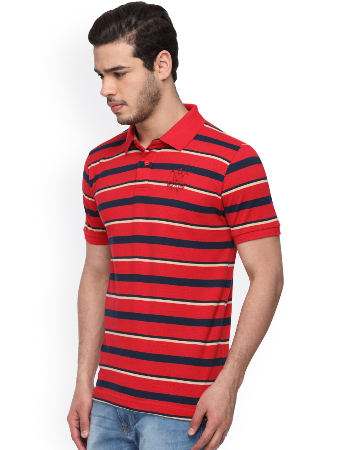 71e400098 Buy Classic Polo Men Red Striped Slim Fit Polo Collar T Shirt ...