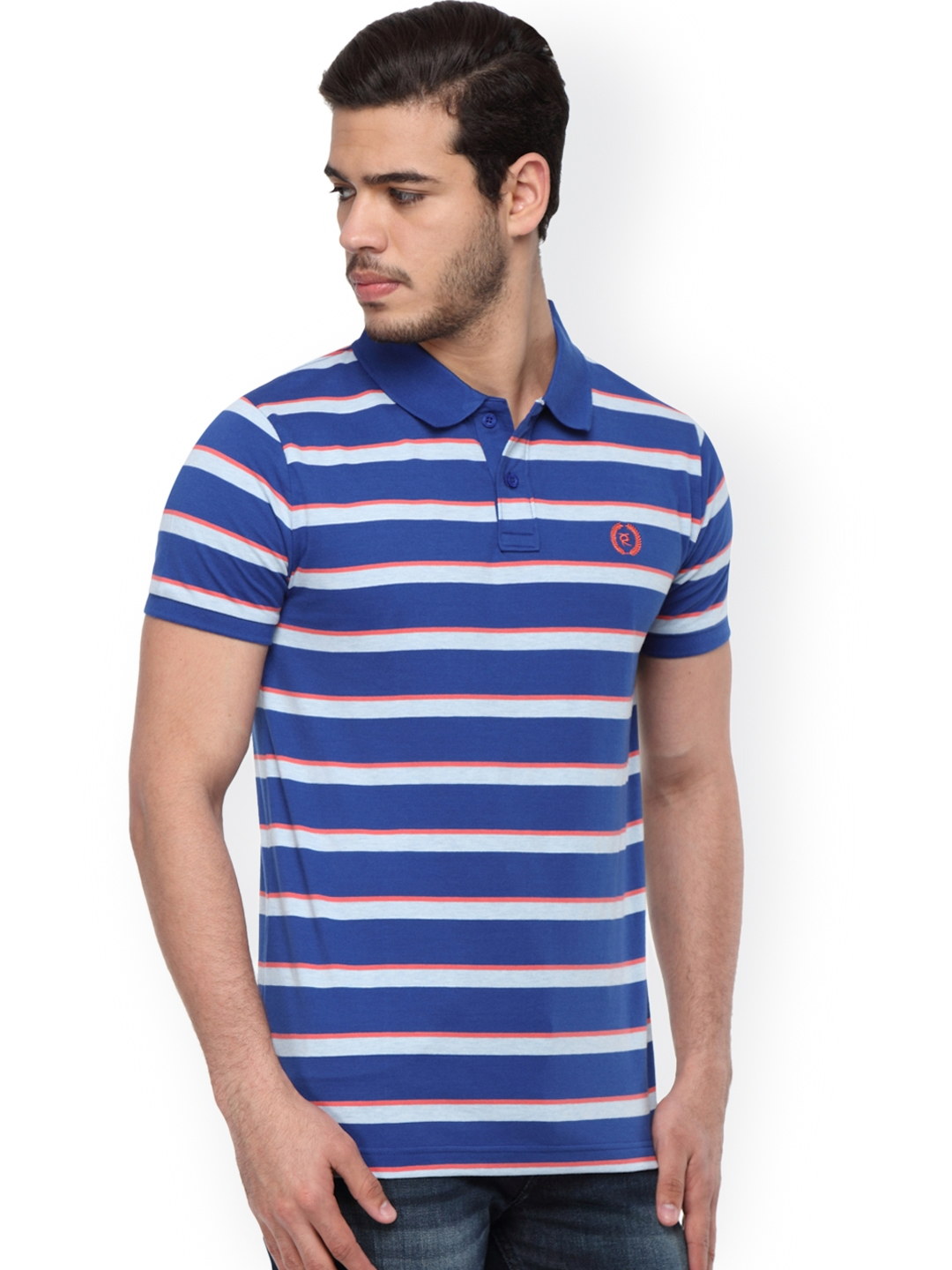 86d10982 Buy Classic Polo Men Blue Striped Polo T Shirt - Tshirts for Men ...