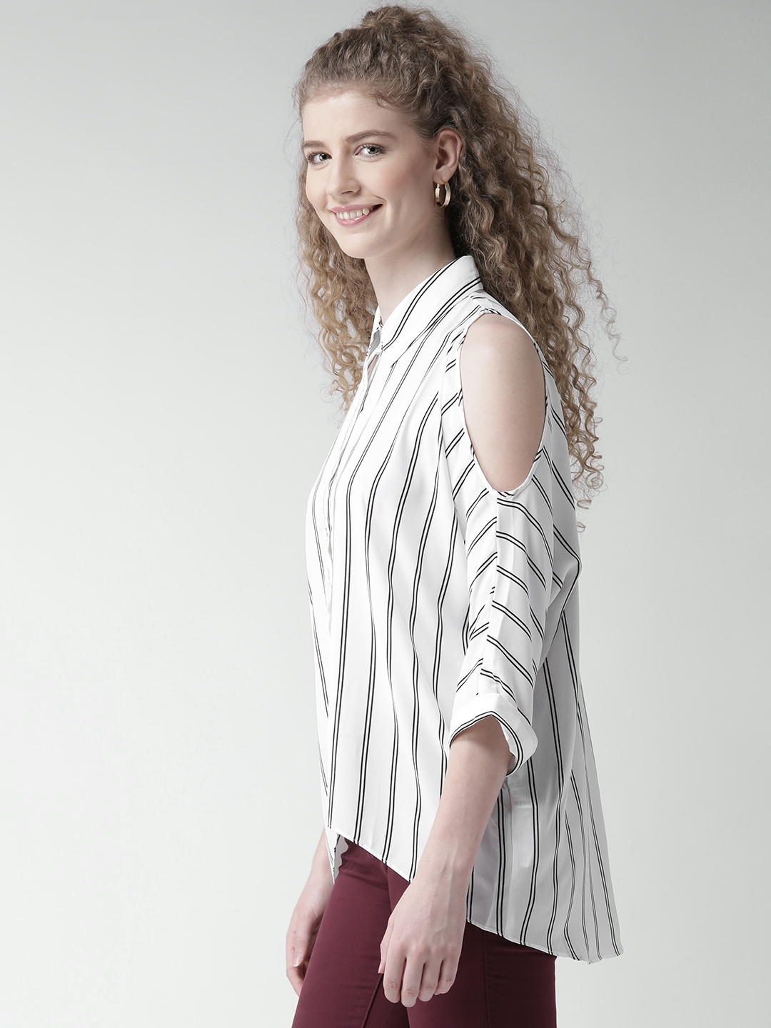 cc2cb242433 Buy FOREVER 21 Women White Striped Cold Shoulder Shirt - Shirts for ...