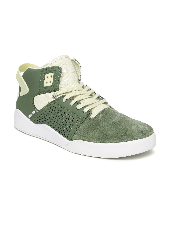 dcd7d3aea5d8 Buy Supra Men Olive Green Suede Skytop III Mid Top Sneakers - Casual ...