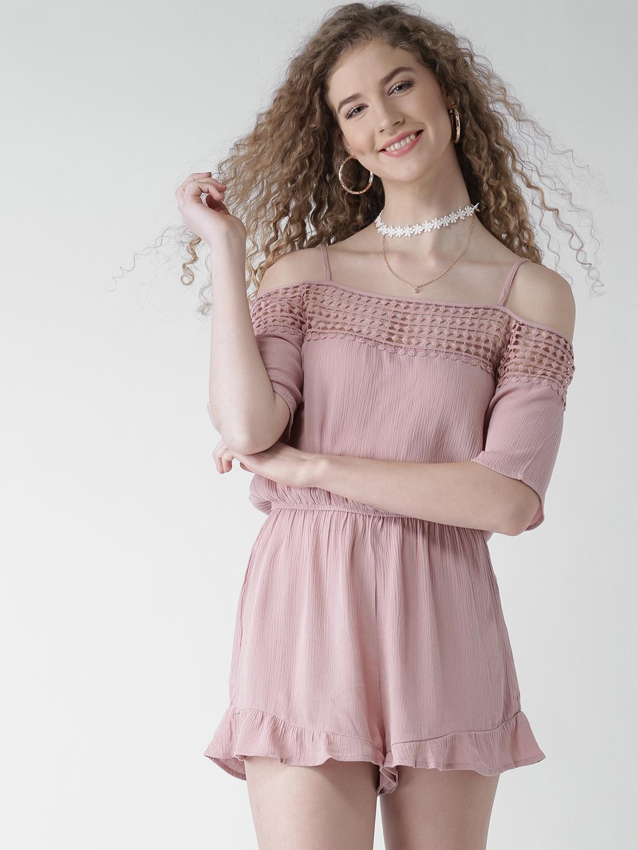 966c6408b21 Buy FOREVER 21 Pink Lace Detail Off Shoulder Playsuit - Jumpsuit for ...