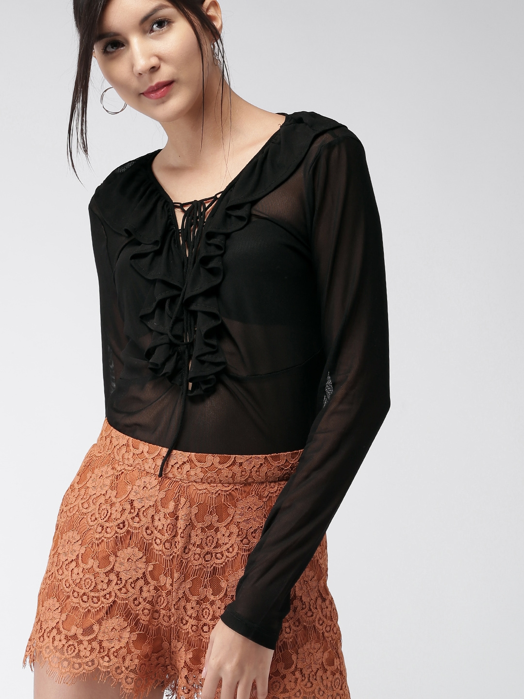 Sheer Black Blouse Forever 21 Anlis