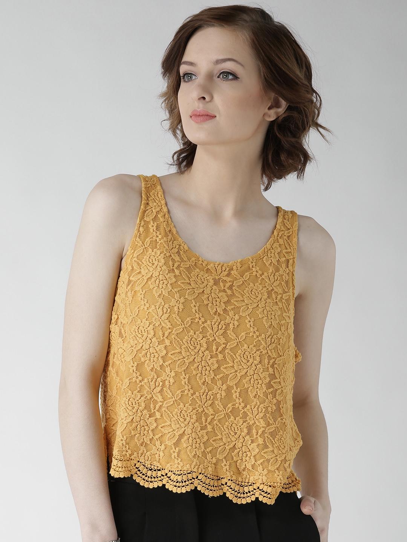 5ec1c64e01f142 Buy FOREVER 21 Women Mustard Yellow Lace Top - Tops for Women ...