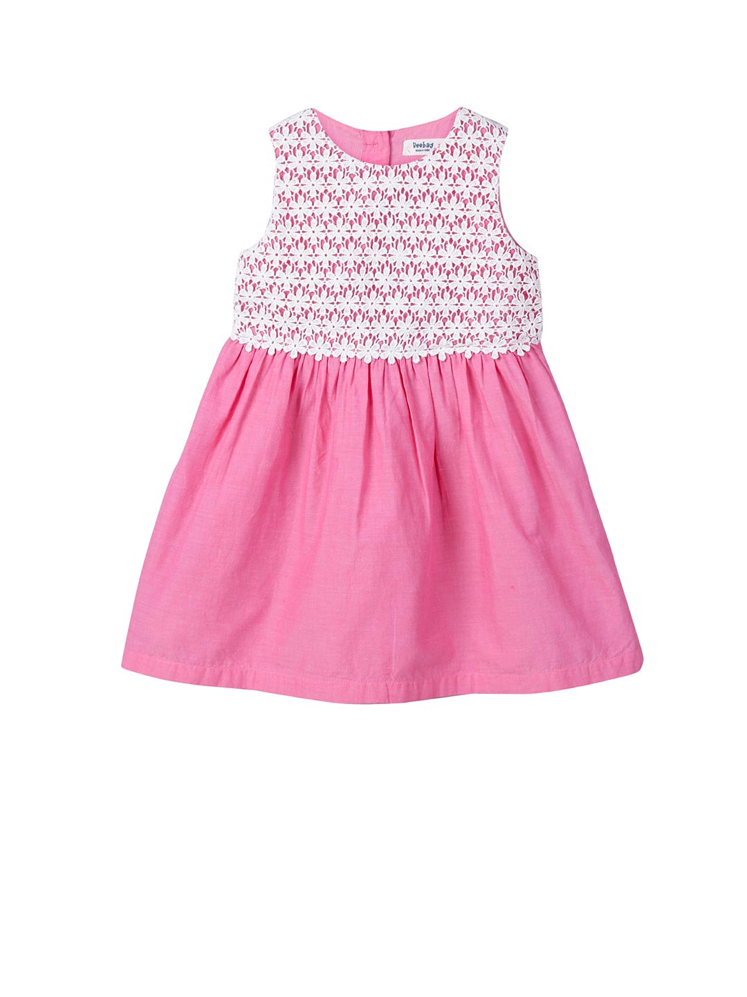 3b78c99b730 Beebay Girls Pink Lace Fit and Flare Dress