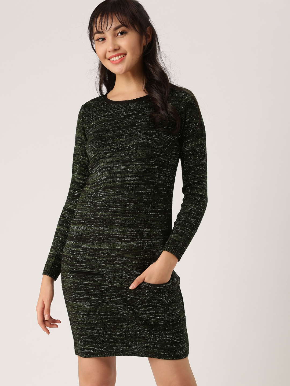 Buy Dressberry Women Olive Green Self Design Sweater Dress Dresses
