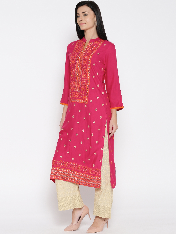 ea27357f8f Buy Sabhyata Women Pink Printed Straight Kurta - Kurtas for Women ...