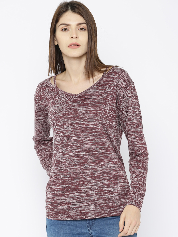 Buy Roadster Women Maroon Self Design T Shirt Tshirts For Women