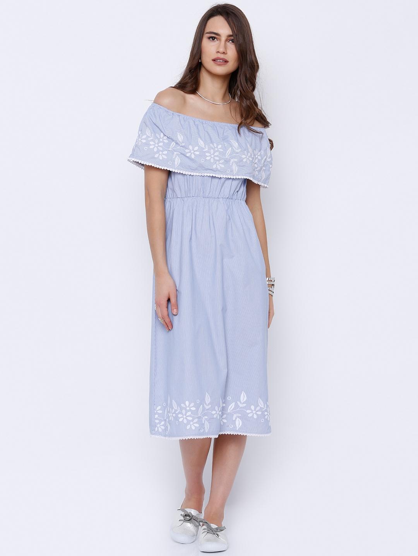 961e8582cb3a Buy Tokyo Talkies Women Blue   White Striped Bardot Dress - Dresses ...