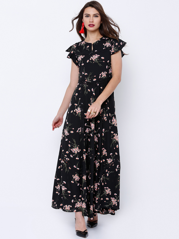 3638c0017 Buy Tokyo Talkies Women Black Printed Maxi Dress - Dresses for Women ...