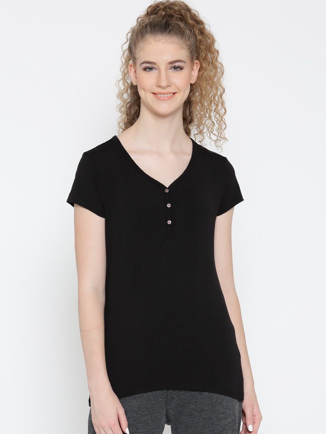 eb8efdc09939c Buy Jockey Women Black Solid V Neck T Shirt - Tshirts for Women