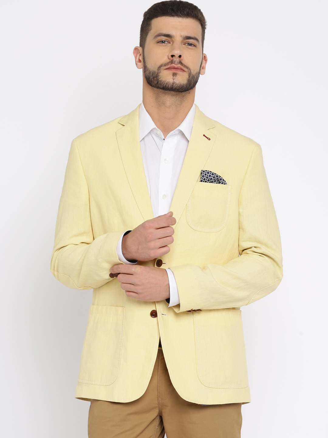 Buy TAILORMAN Yellow Single Breasted Linen Blazer - Blazers for ...