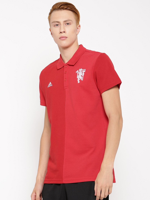 9993e3544 ADIDAS Men Red Manchester United F.C SS Colourblocked Polo Collar T-shirt