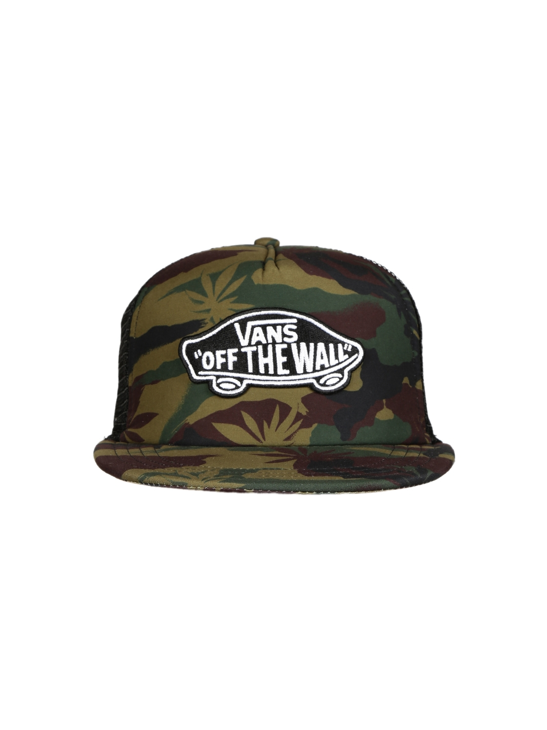 03a015405c5 Buy Vans Men Black   Green Camouflage Print Classic Patch Trucker Cap - Caps  for Men 1869705