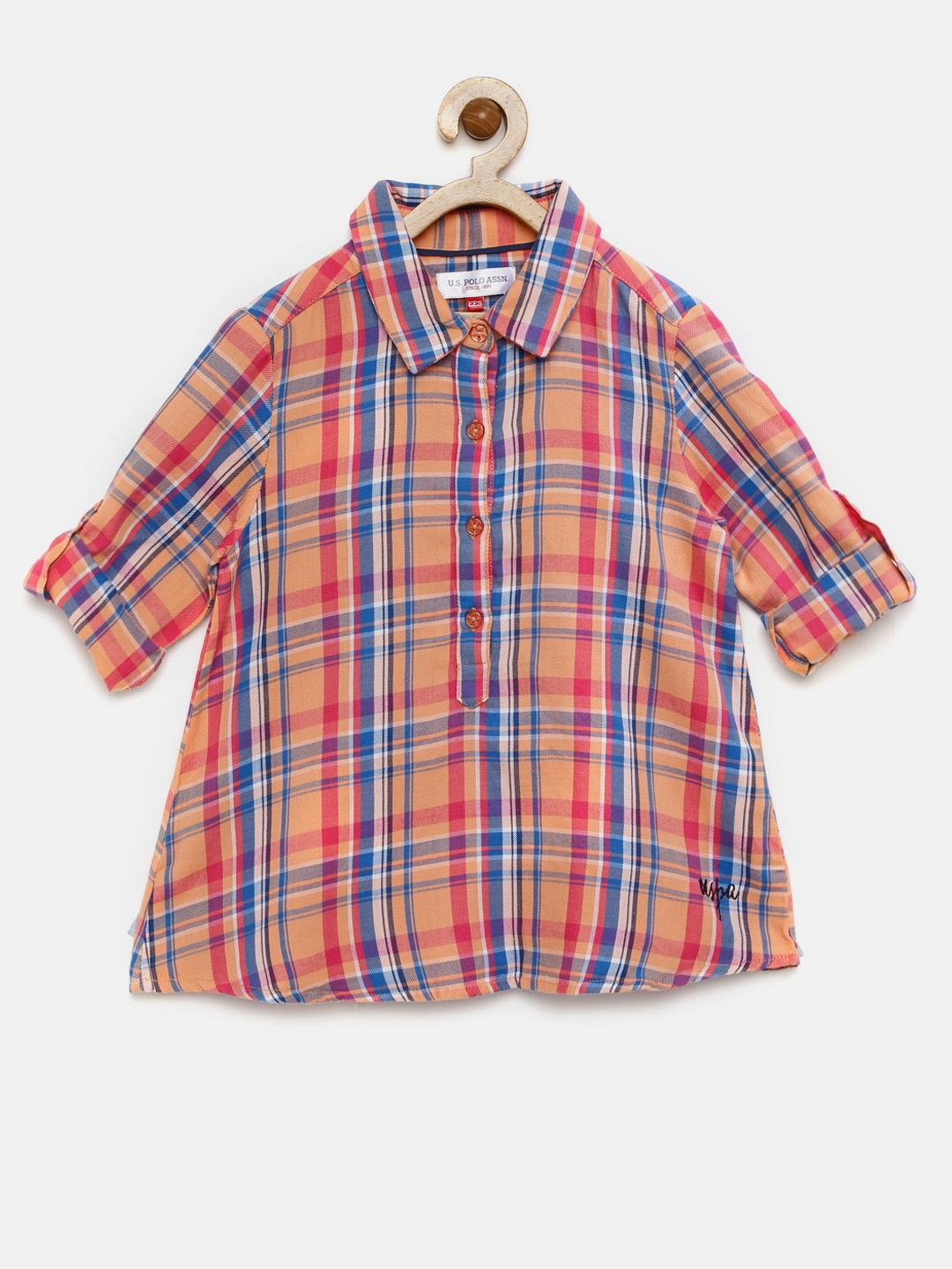 9d46ecad Buy U.S. Polo Assn. Kids Girls Pink & Blue Checked Shirt Style Top ...